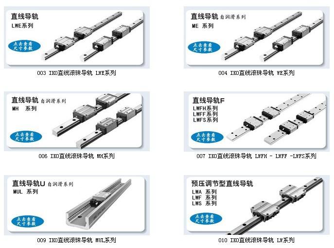 IKO直线导轨系列规格图